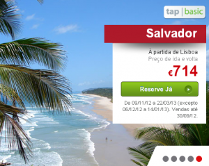 TAP com promoções para Salvador