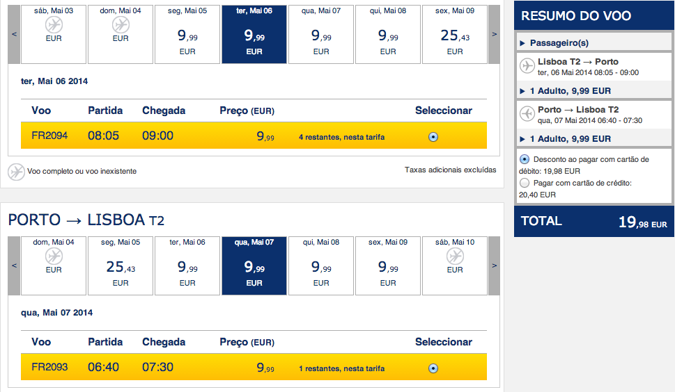 Bilhetes de avião na Ryanair