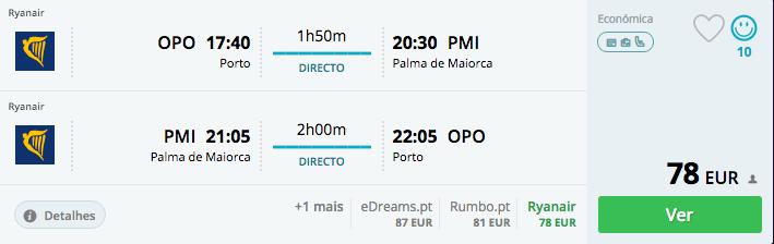 Exemplo de uma viagem de ida e volta para Palma de Maiorca em junho